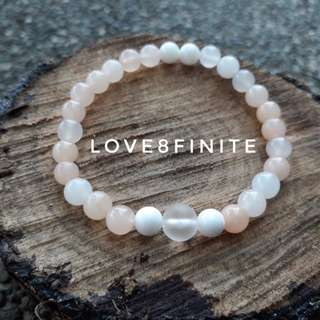 """I am assertive"" Peach Agate + Frosted Quartz crystal bracelet"