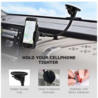 Mpow Cell Phone Holder for Car, Windshield Long Arm Car Phone Mount with One Button Design and Anti-skid Base Car Holder for iPhone X/8/7/7P/6s/6P/5S, Galaxy S5/S6/S7/S8, Google, LG, Huawei and More