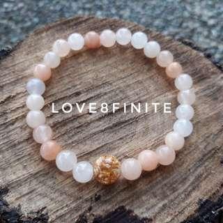 """I am precious"" Gold + Peach Botswana agate crystal bracelet"