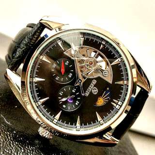 全自動陀飛輪日月星晨機械真皮手錶 Automatic Tourbillon Sun and Moon Star Mechanical Genuine  Leather Watch 情人節禮物 Valentine's Day Gift