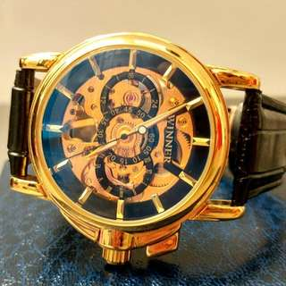全自動金鋼藍光陀飛輪機械真皮手錶 Automatic Gold Steel Blue Light Tourbillon Mechanical Genuine Leather Watch 情人節禮物 Valentine's Day Gift