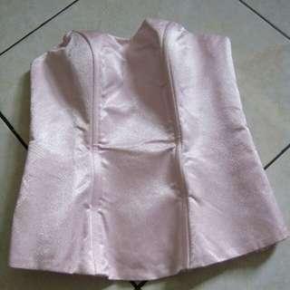 Long torso / bustier premium bahan satin tebal warna pink
