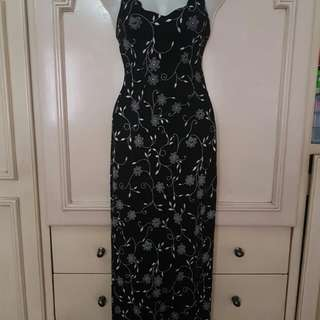 Black Long Dress w/silver glittered design