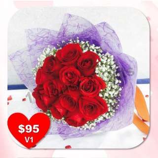 1打红玫瑰手花  12 red roses Bouquet for Valentine's Day. Early bird discount of 10%