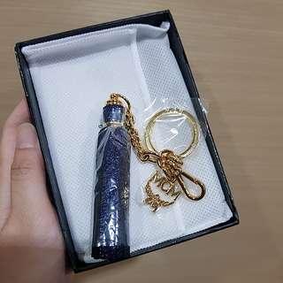 MCM tassel leather key charm