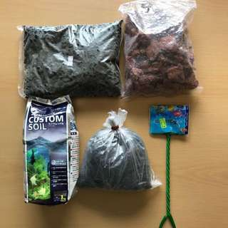 Brand New Nisso Custom Soil, Bag of aquarium rocks etc