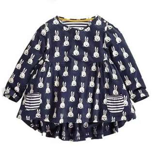 Little Girls Polka Dot Navy Blue Tunic Top