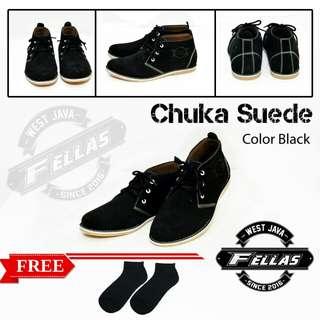 Sepatu Casual Fellas Chuka Suede Black
