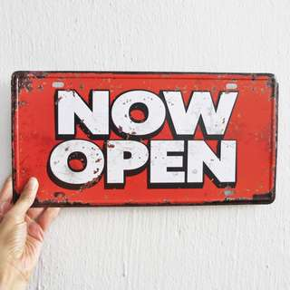 Now Open Metal Sign / Poster