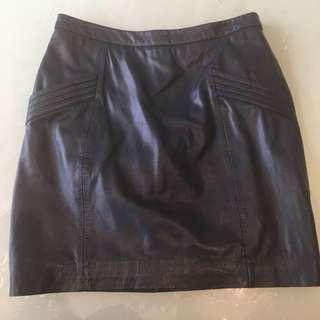 GORMAN Navy Leather Skirt BNWOT