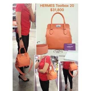 90% New HERMES Toolbox 20 Flamingo (CKI5) 火鶴色 粉紅色 銀扣 皮革 手提袋 肩背袋 手袋 Leather Handbag with Silver Hardware