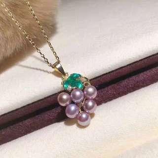 葡萄 天然日本半圓珍珠 純銀吊墜連項鏈