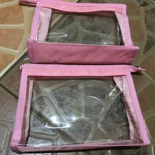 pink clear case makeup pouch