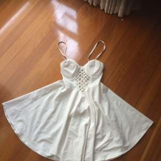 White Skater Dress With Cut Outs