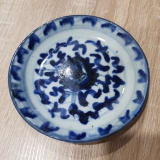 old blue white plate 14cm
