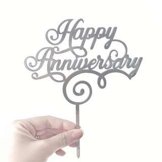 Happy Silver Anniversary Acrylic Cake Topper