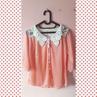 Peach Transparant Blouse