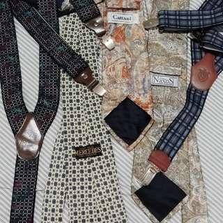 Authentic Vintage Italian silk neck ties and suspenders