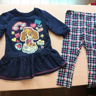 BN Paw Patrol Skye Top and Leggings for 1-2 year olds