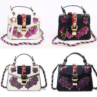 HOT Handbag Gucci Sylvie Embroidered Flower Leather Top Handle Bag Fashion Wanita Cewek Impor Code 2631