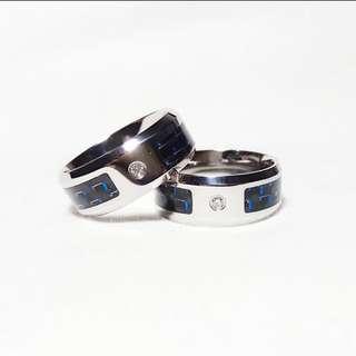 Cincin Stainless Steel Carbon Fiber Biru AAA Zirconia Couple