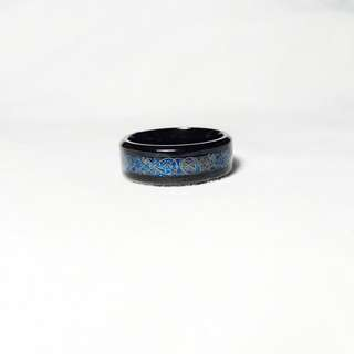 Cincin Stainless Steel Retro Hitam Black Mix Biru