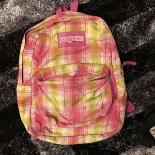 Jansport pink and green backpack