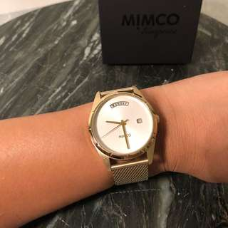 Mimco kinetica gold white face timepiece watch