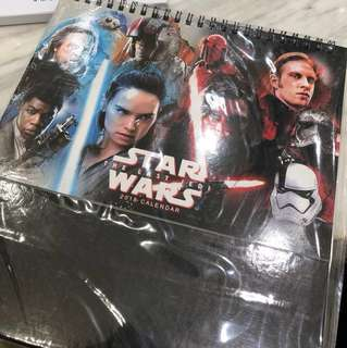Star Wars The Last Jedi 2018 calendar