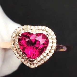 心形滿火彩盧比萊碧璽戒指