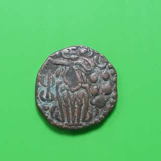 Raja Raja CHOLA  - OCTOPUS MAN - (985-1014 AD) - Beautiful vintage Copper Coin Medieval ( 1000 Years  old ) - ch01