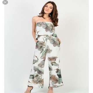 Dressabelle Ruffle Tropical Tube Jumpsuit in White