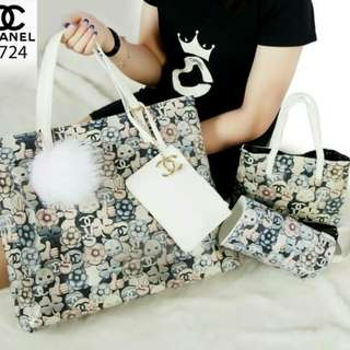 CH*N*L Borse Runway 4in1 Quilted Shooping Tote Prints Leather 2724  (04)*