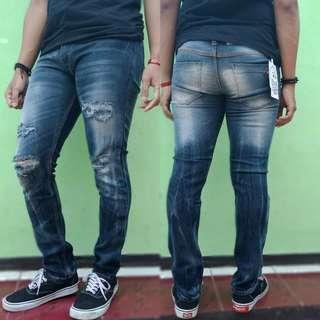 Celana Jeans Skinny Sobek Pria