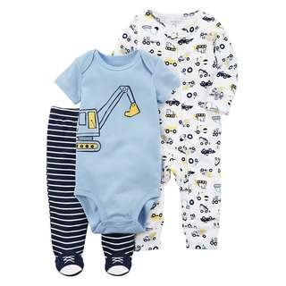 CARTER'S Baby Boy 3 Piece Bodysuit Pants PJ Pajama Sleepsuit Set Construction 6M