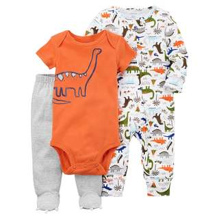 CARTER'S Baby Boy 3 Piece Bodysuit Pants PJ Pajama Sleepsuit Set Dinosaur 6M