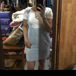 JUMPER DENIM SKIRT WT FREE WHITE CROP TOP