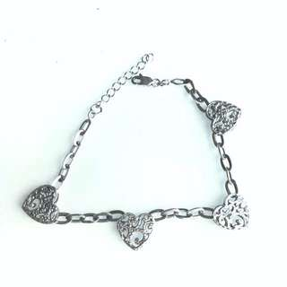 Gelang Real silver heart chain