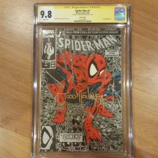 👍Rare - MARVEL Spider-Man #1 Silver Edition CGC 9.8 Signature Series Todd Mcfarlane Gold Signature