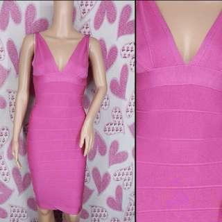 ❗️SALE ❗️ 50% OFF until Jan 30, 2018 only !!!                     Herve Leger Pink V Neck Bandage Dress