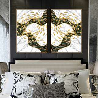 Gold Fish Swirls Canvas Painting