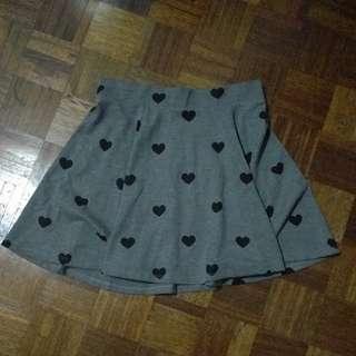H&M Black Hearts Skater Skirt