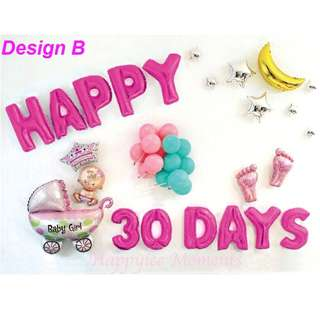 Baby Shower Balloons Set Party 30 100 Days Newborn NB Happy Birthday