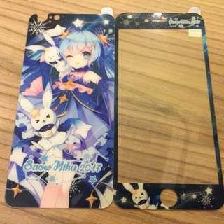snow miku 雪初音 iphone6 plus/iphone6s plus前後鋼化玻璃保護膜mon貼