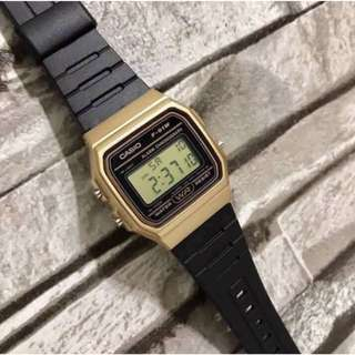 Casio Gold Black Rubber Strap