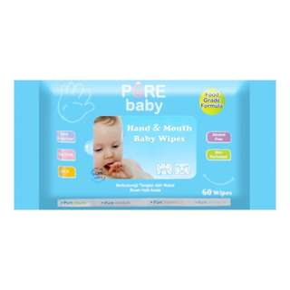 NEW Pure Baby Hand & Mouth Wipes 60'S Aloe Vera