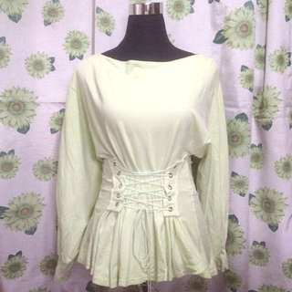 GREEN SWEATER WITH CORSET DESIGN