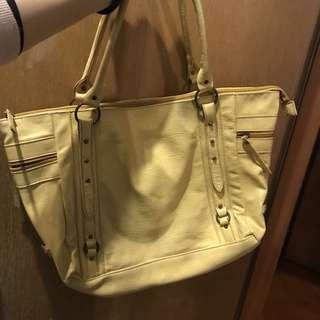 新淨 ANS 黃色皮手袋 yellow handbag