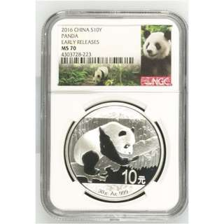 2016 CHINESE PANDA 30 GRAM SILVER COIN MS-70 NGC (Panda Label, Early Release)