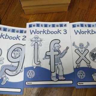 Original Letterland phonics workbooks 2,3 &4